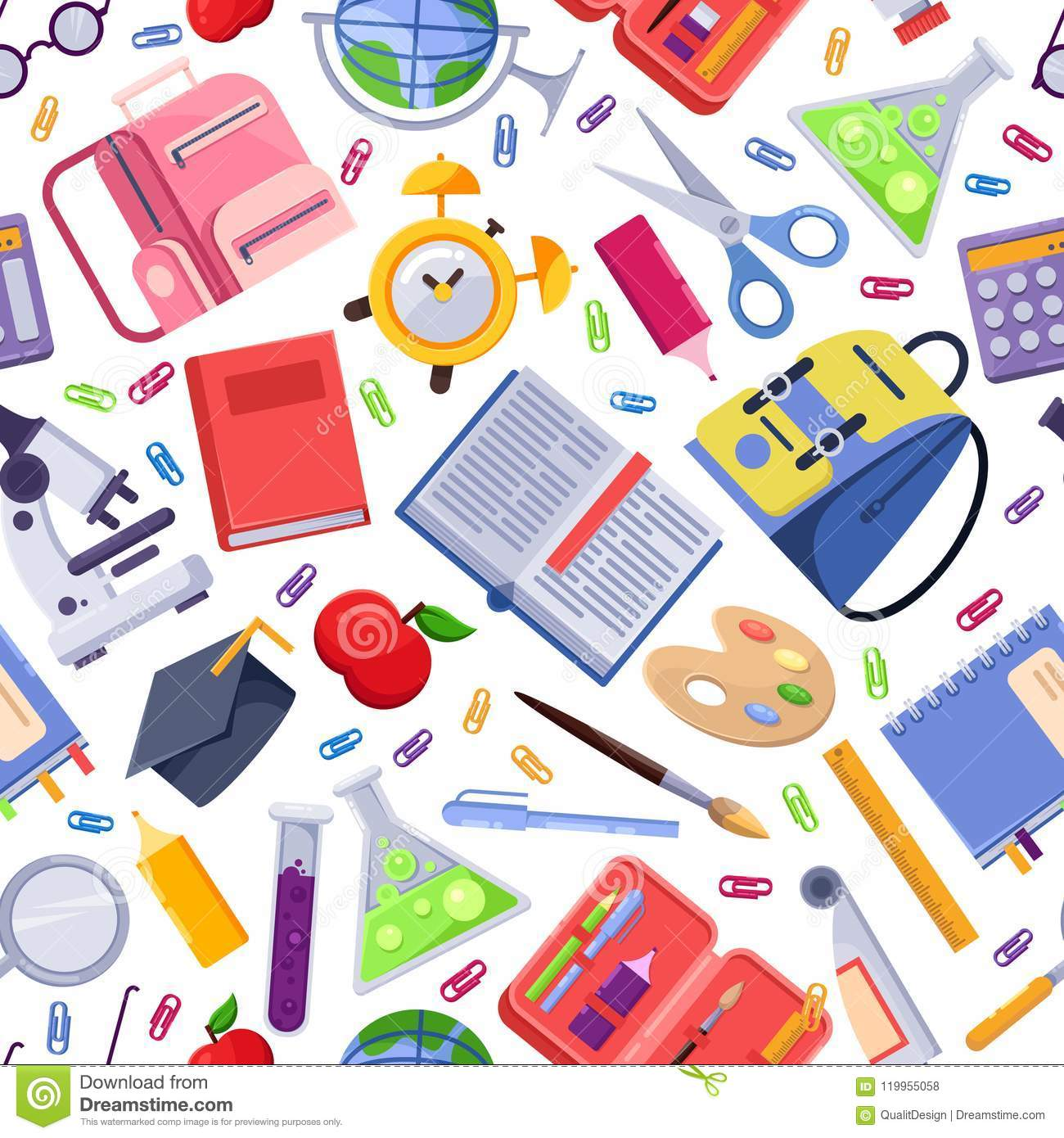Back To School Vector Seamless Pattern. Colorful Education ...