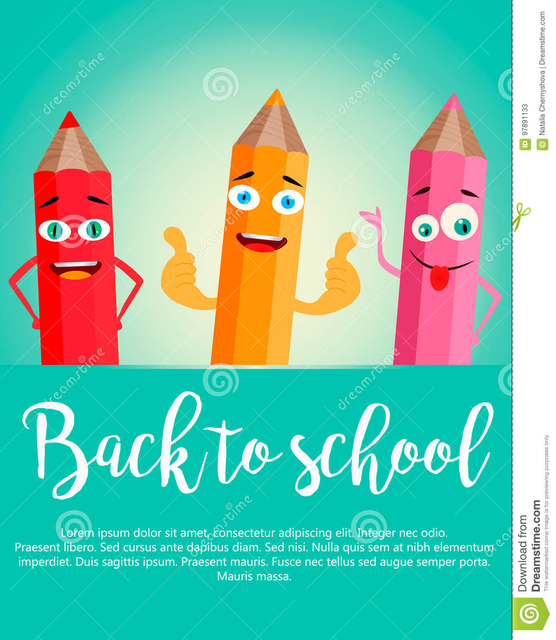 Back to school vertical background with realistic pencils