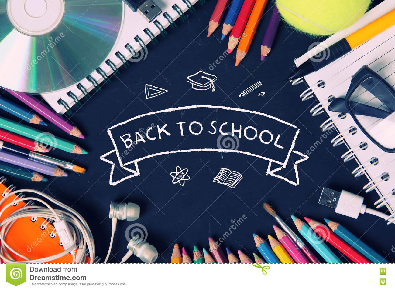 back to school wallpaper design in retro colors stock