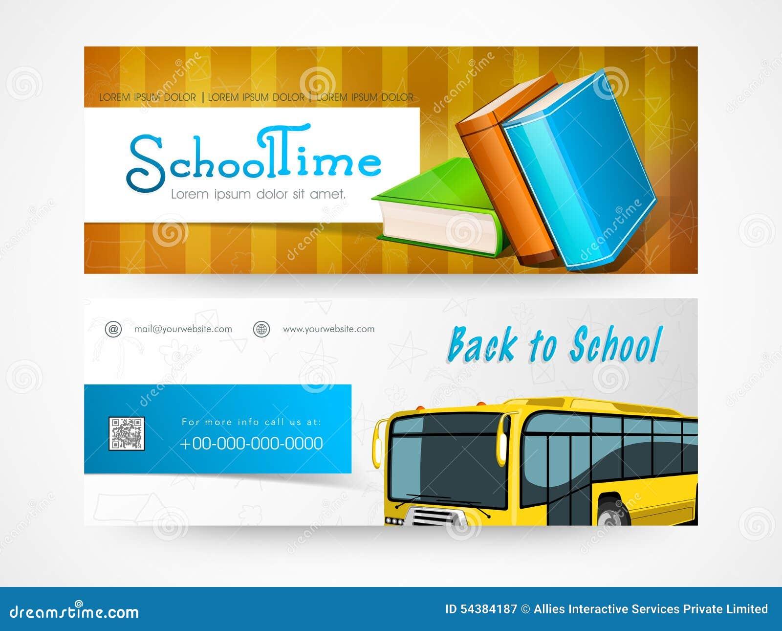 Back to school web header or banner set.