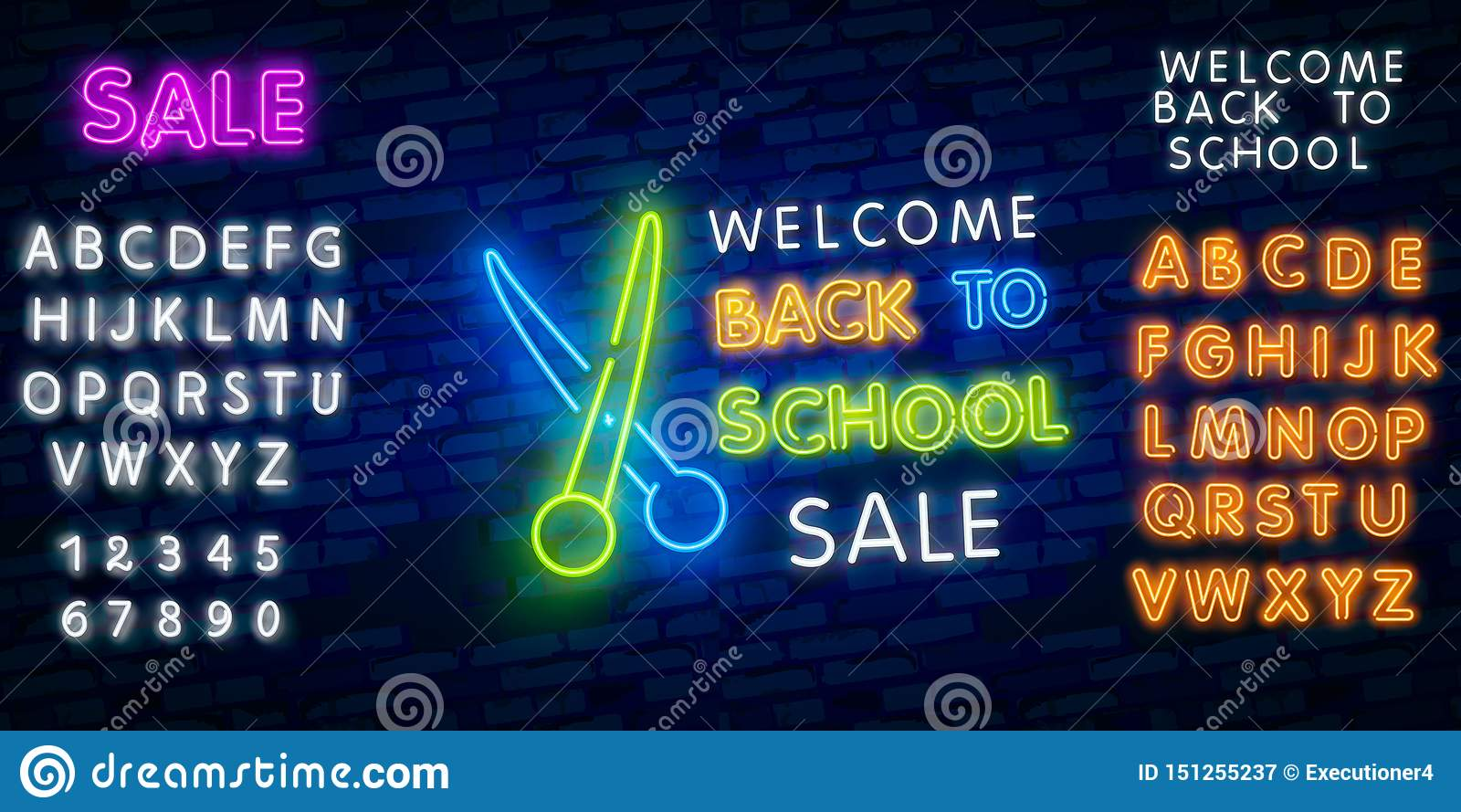 Back To School Welcome Greeting Card Design Template Neon