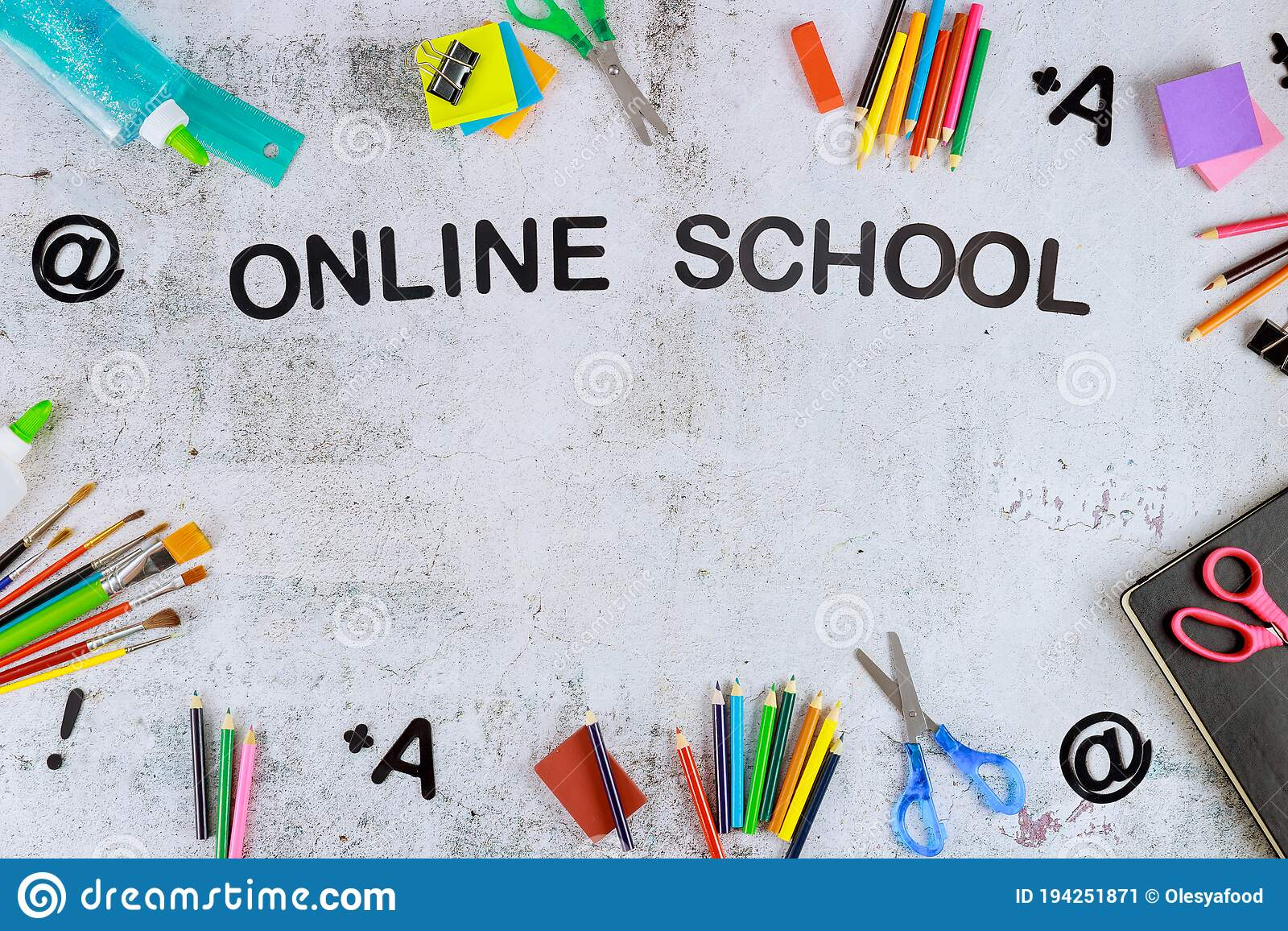 Back To Virtual School Background With Copy Space Stock Image - Image Of  School, White: 194251871