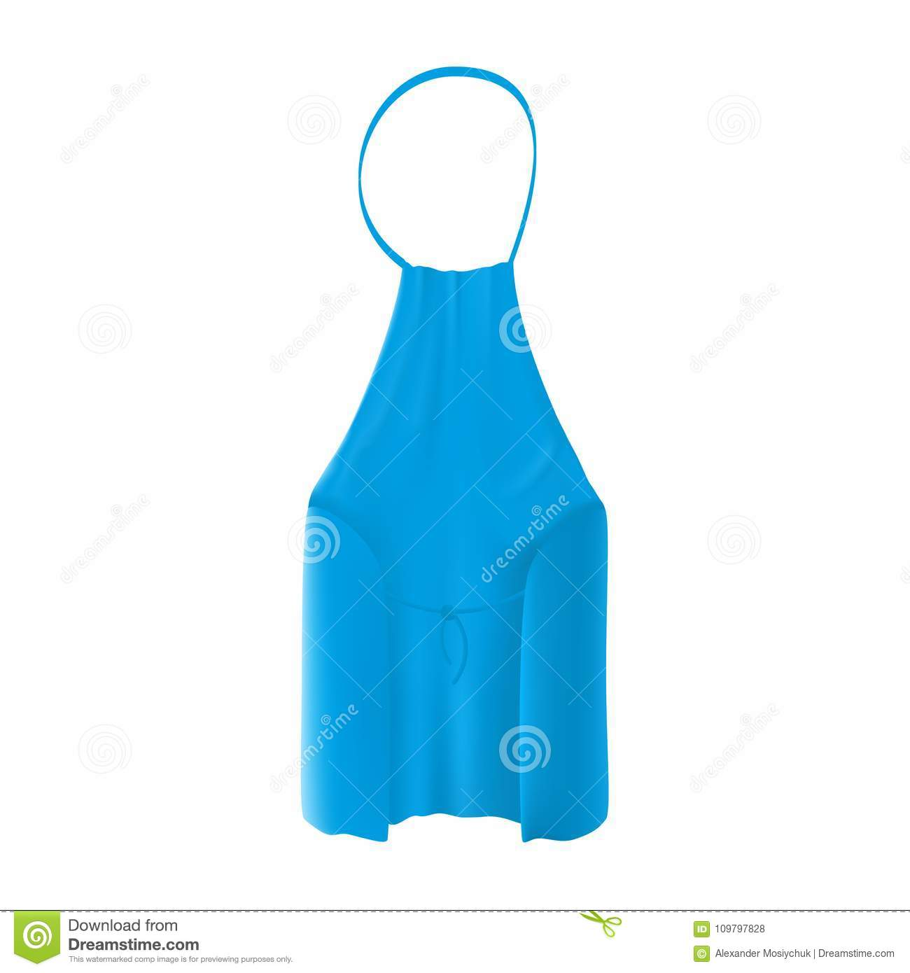 Back View Of The Blank Blue Kitchen Apron. Protective Garment. Stock ...