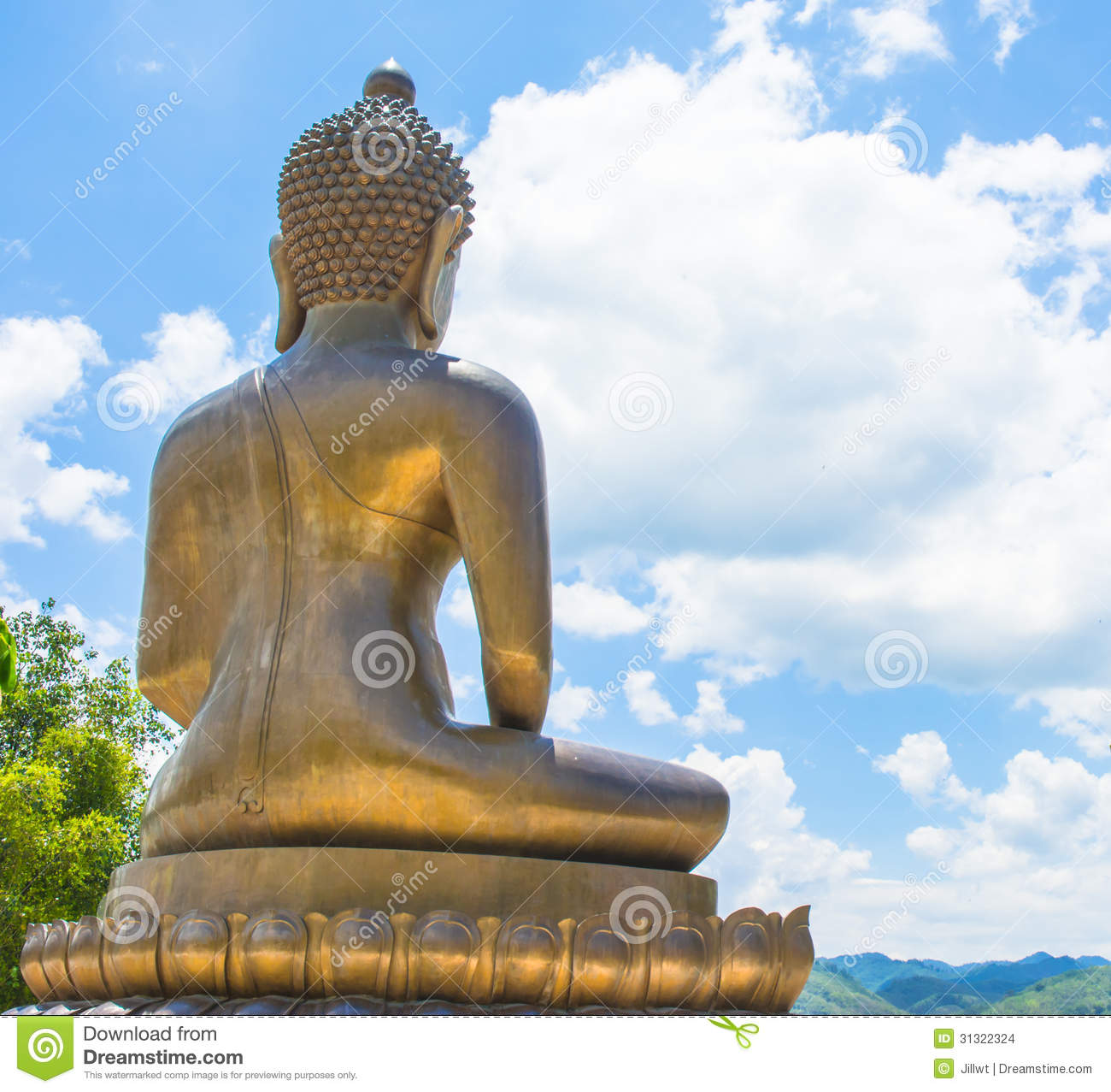 Back View Buddha Statue On Natural Backgrounds Stock Photo
