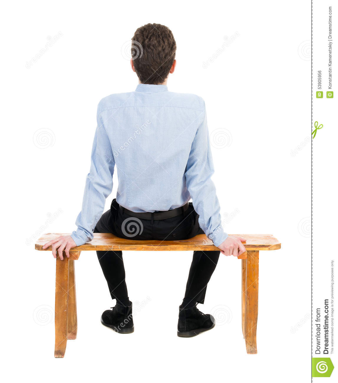 Back View Of Business Man Sitting On Chair Stock Photo