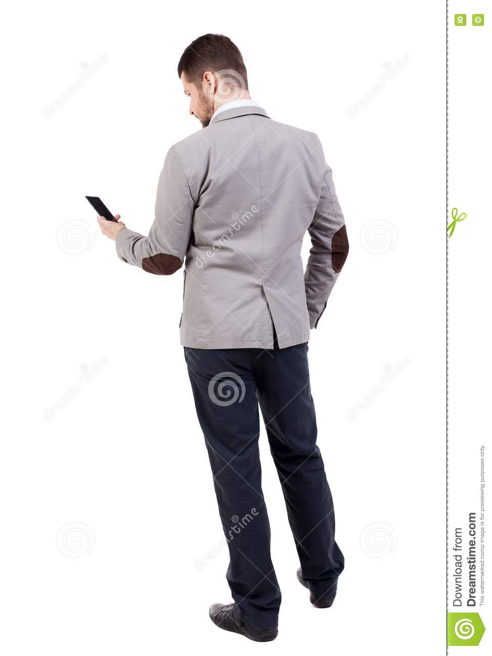 Back View Of Business Man In Suit Talking On Mobile Phone ...