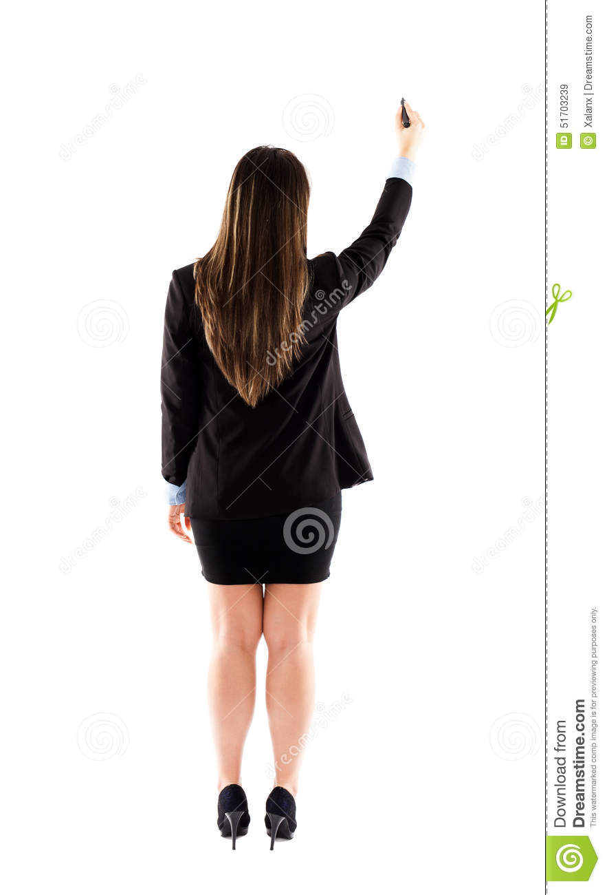 Back View Of Businesswoman Or Teacher Writting On White