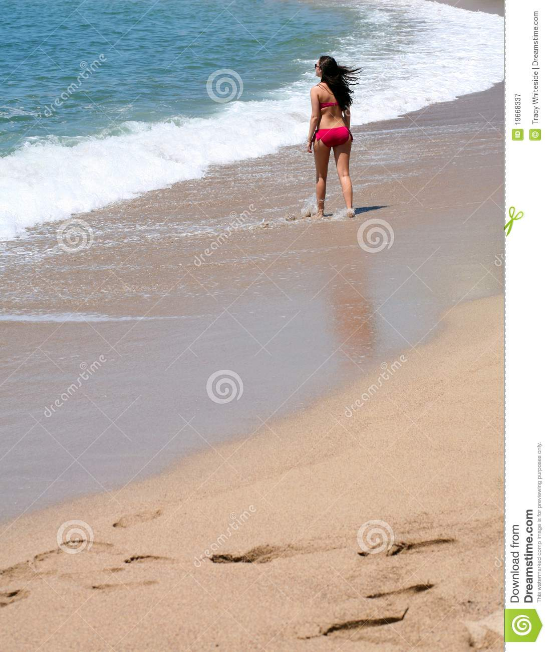 Woman With Beautiful Body In Bikini At Beach Stock Image: Back View Of Girl On Beach Stock Image. Image Of Adult