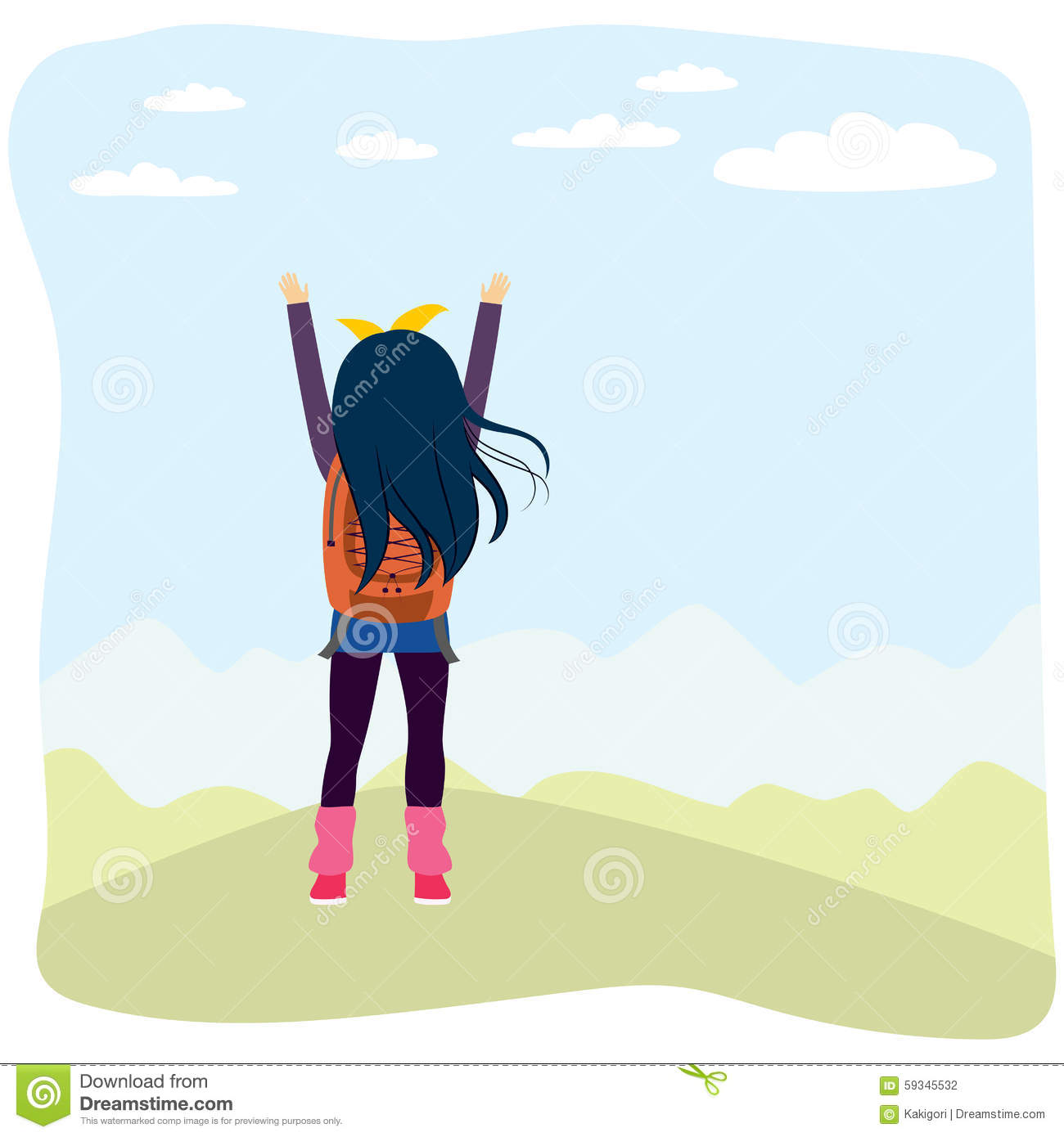 Back View Girl Hiking Mountain Stock Vector