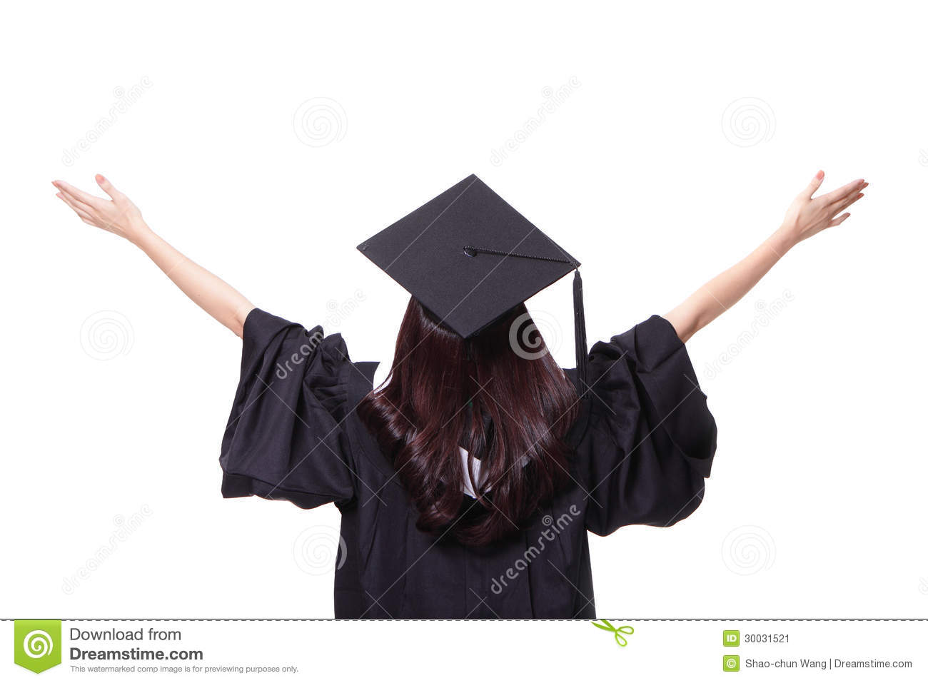 ... look up to copy space, she wear graduation cap and gown ,asian woman