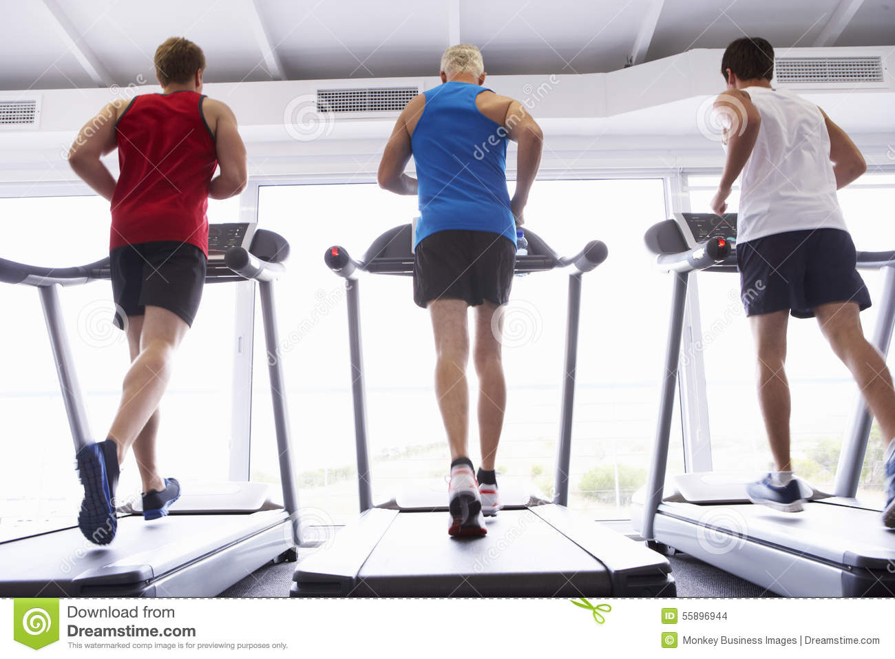 back view of group of men using running machines in gym guy running clipart person running away clipart