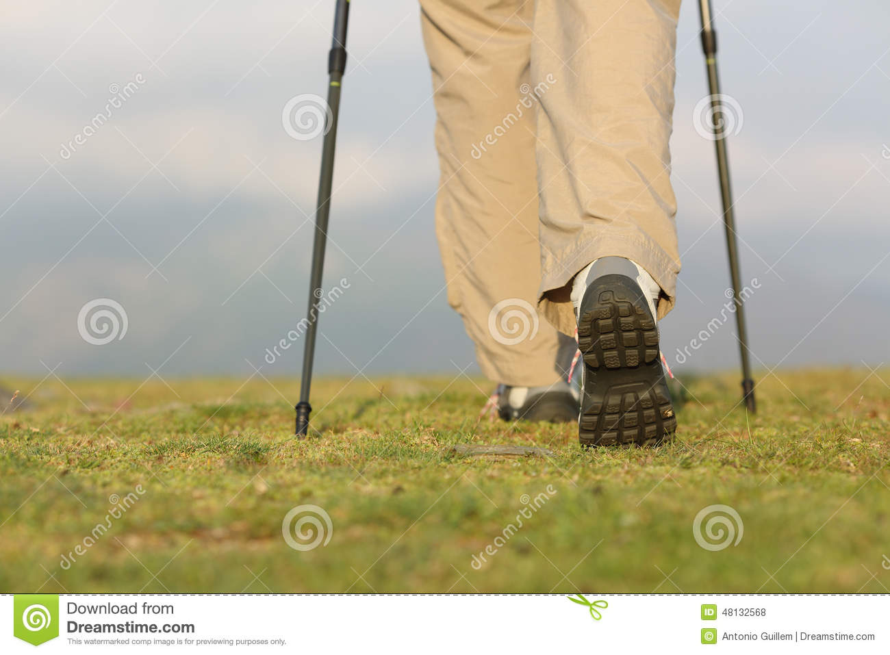 Back view of hiker legs with poles walking on the mountain