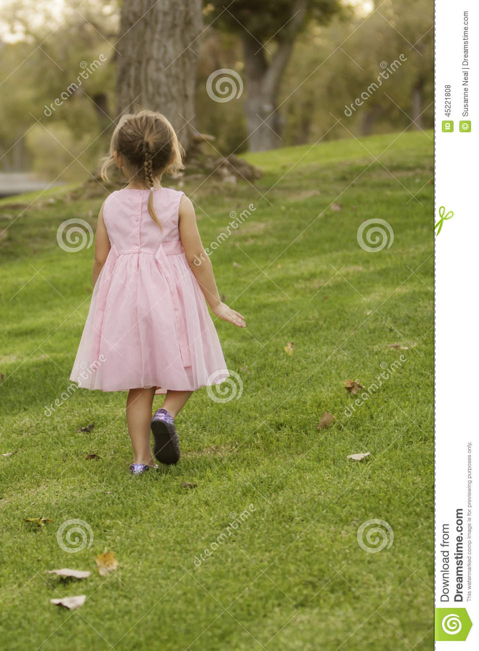 Back View Of Little Girl In Pink Dress On Grass Stock