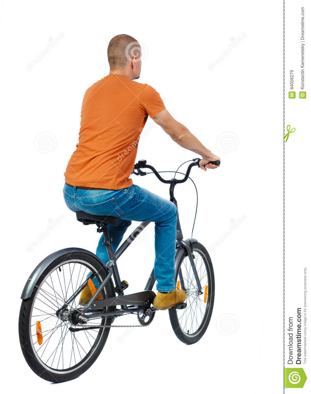 Back view of a man with a bicycle