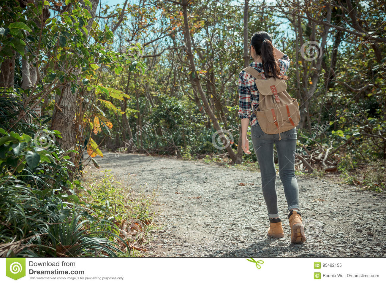 5e4b8ec9e01c Back View Photo Of Young Sweet Student Girl Stock Image - Image of ...