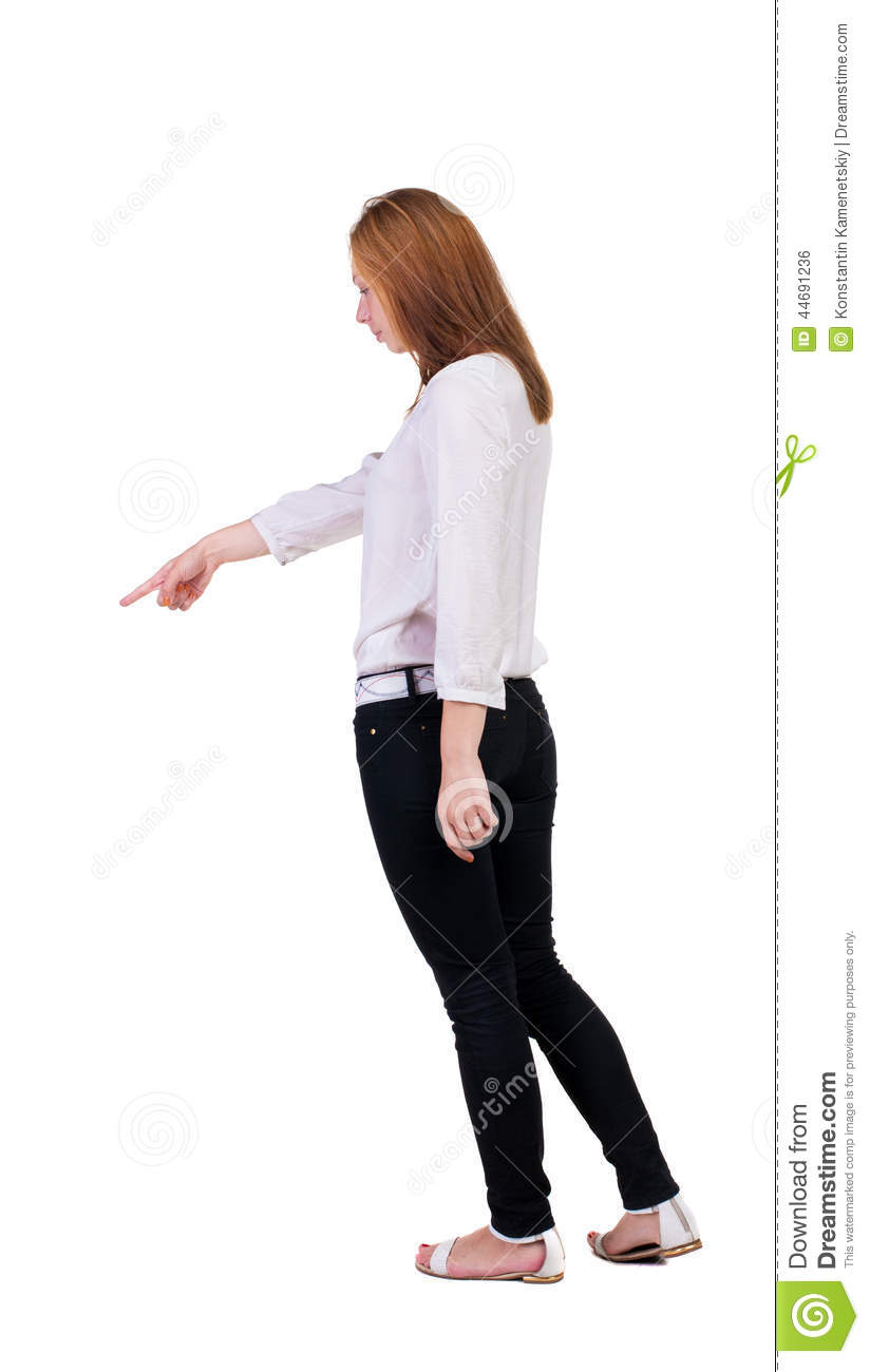Back View Of Pointing Woman Stock Photo Image 44691236