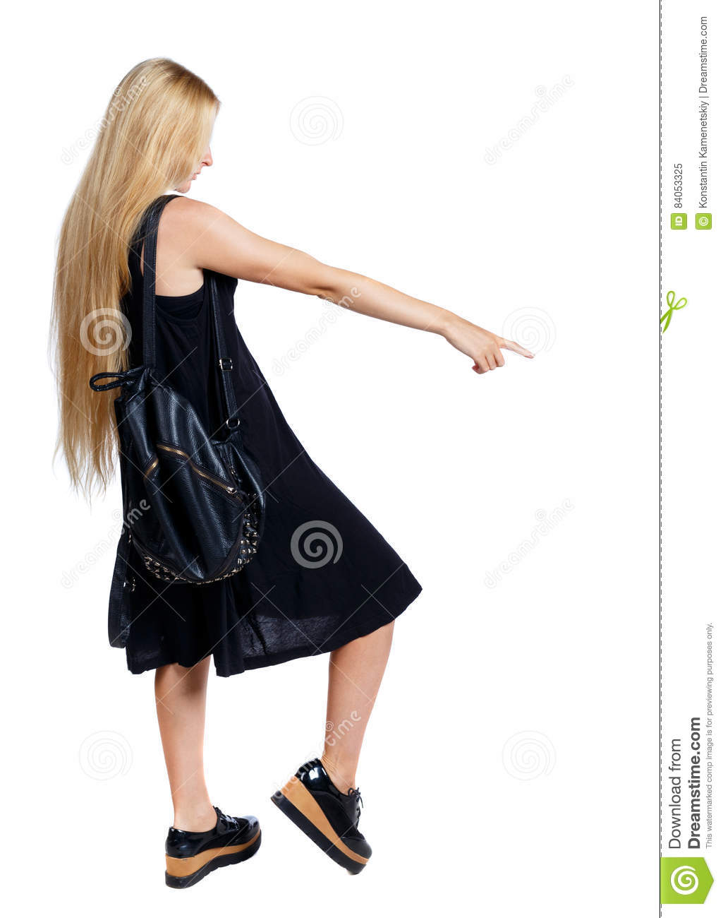 f2739fa113 Back View Of Pointing Woman. Stock Image - Image of attractive