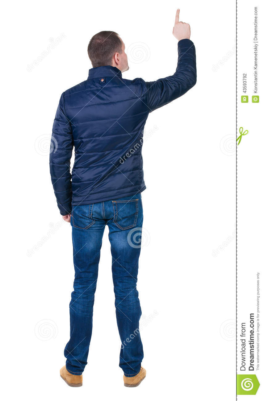 Back View Of Pointing Young Men In Jacket And Jeans. Stock ...