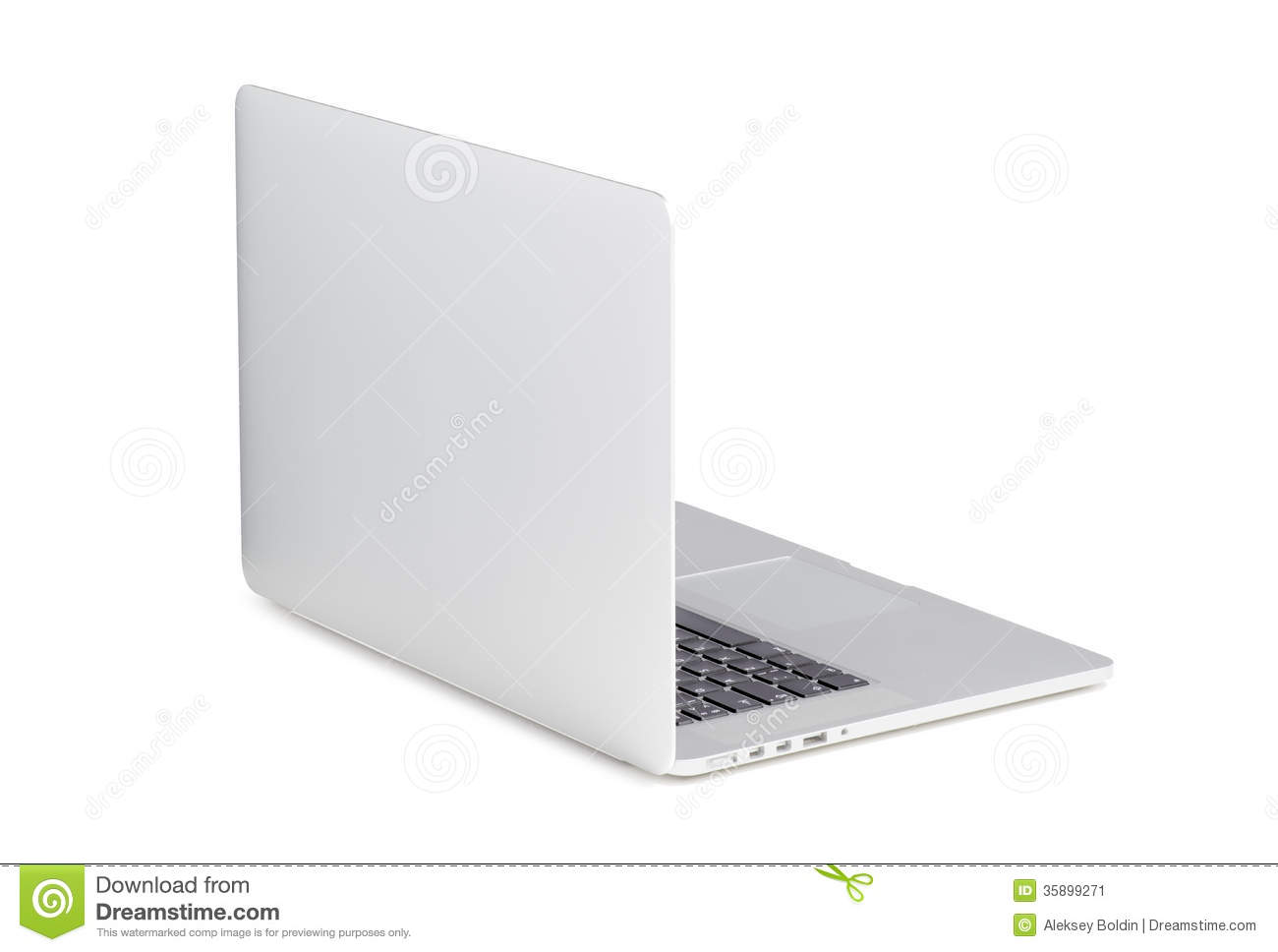 back view of a rotated at a slight angle modern laptop