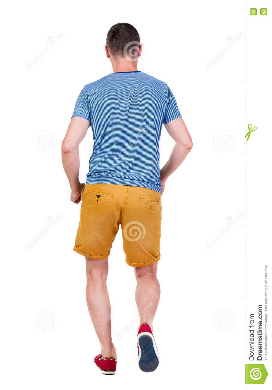 Back View Of Running Man In T-shirt And Shorts Royalty ...