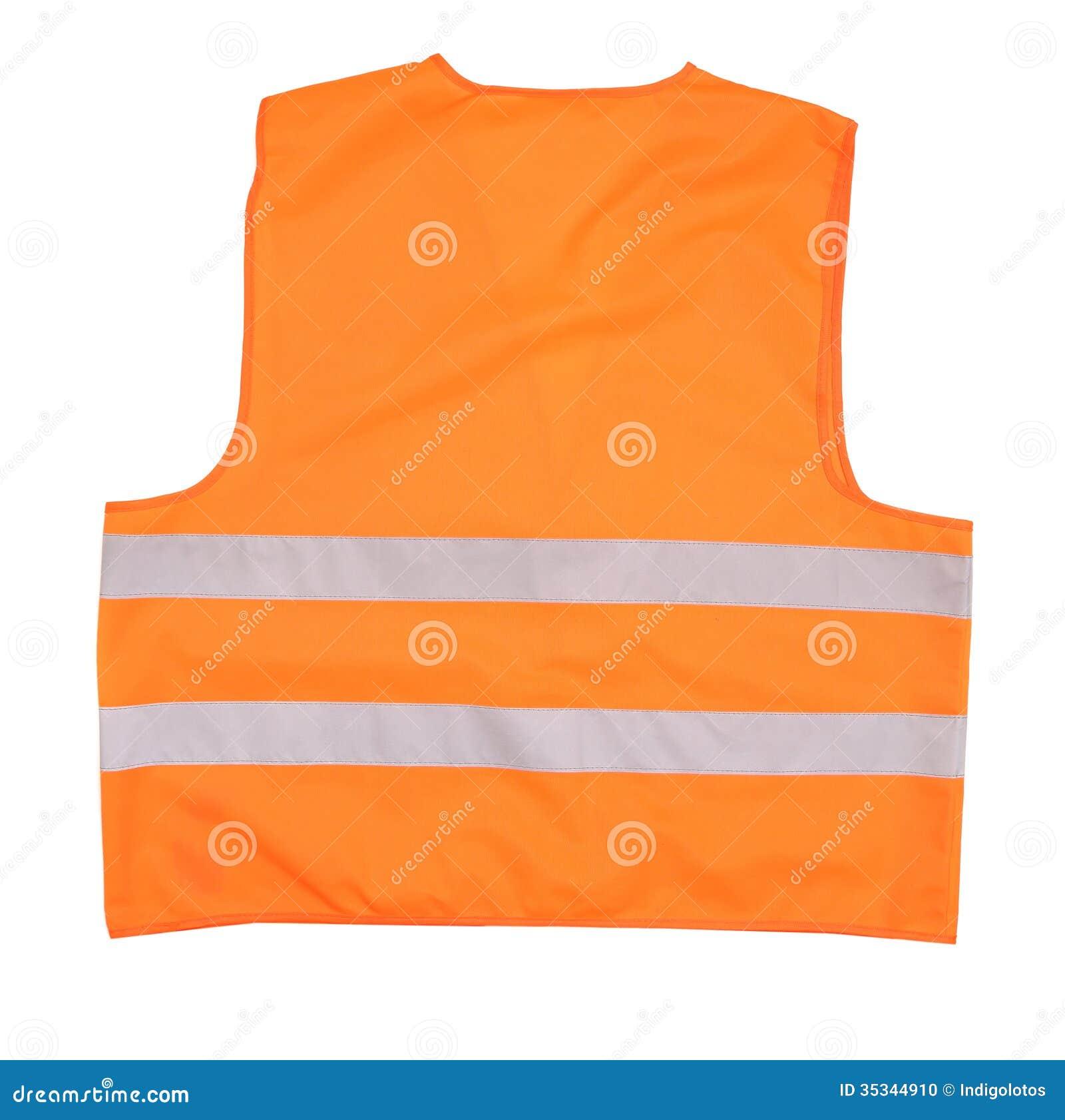 Back view of safety orange vest.