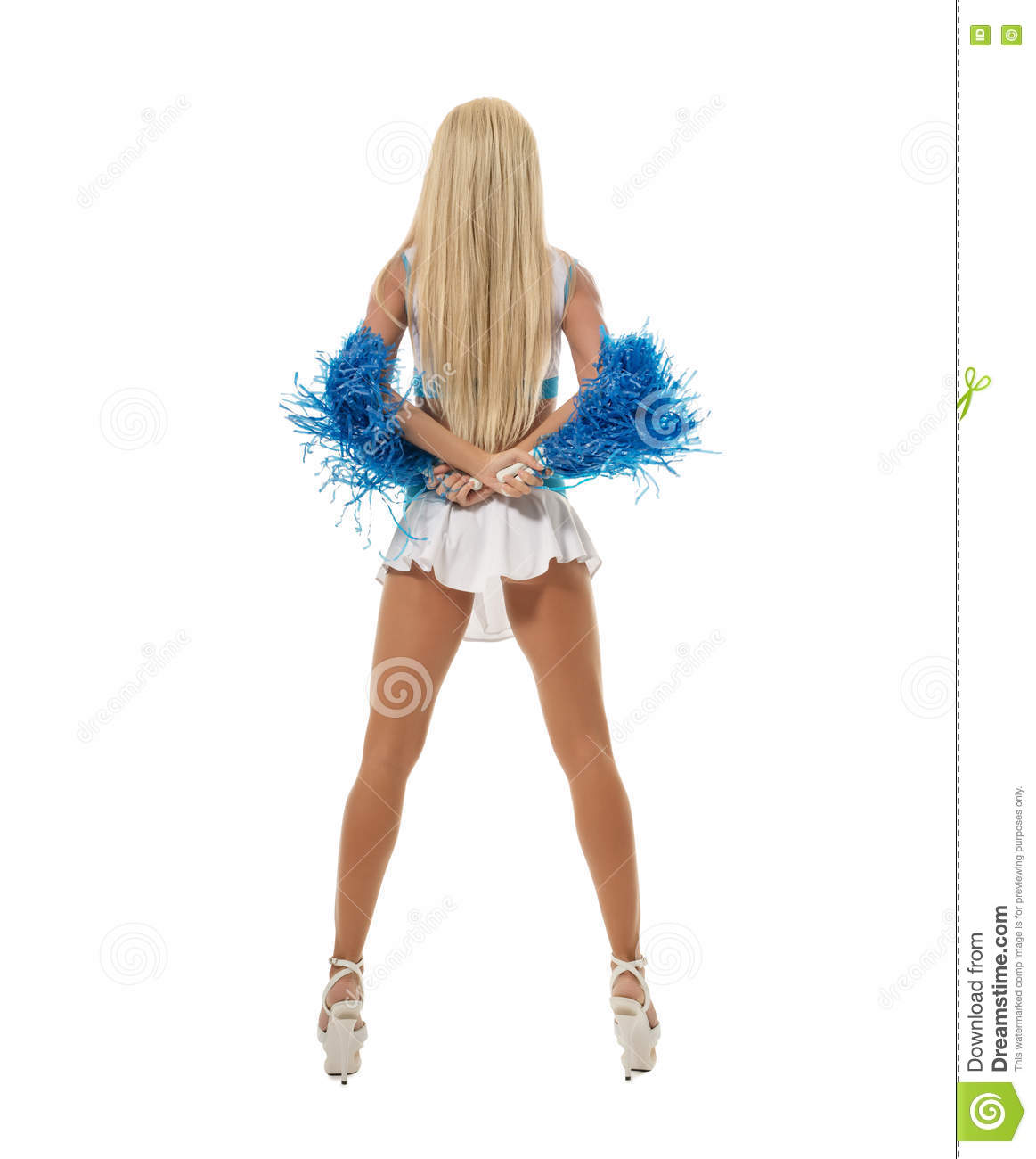 Back View Of Slim Leggy Blonde Posing With Pompons Stock