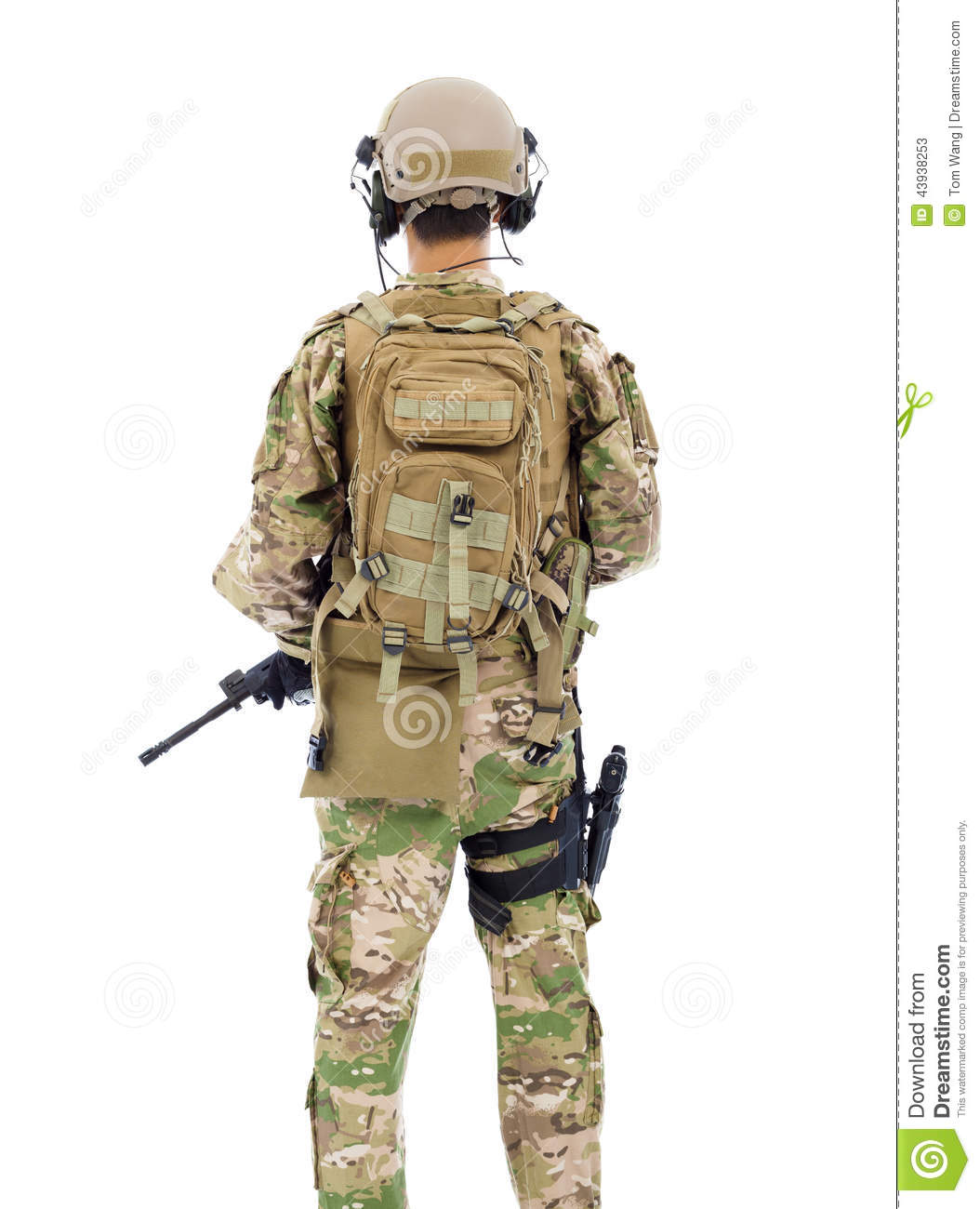 Back View Of Soldier With Rifle Or Sniper Stock Photo - Image ...