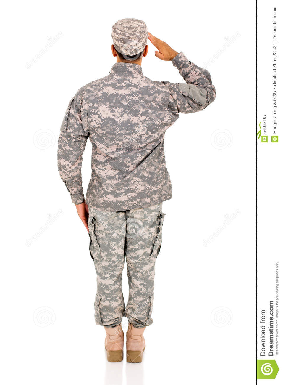 Back view soldier saluting