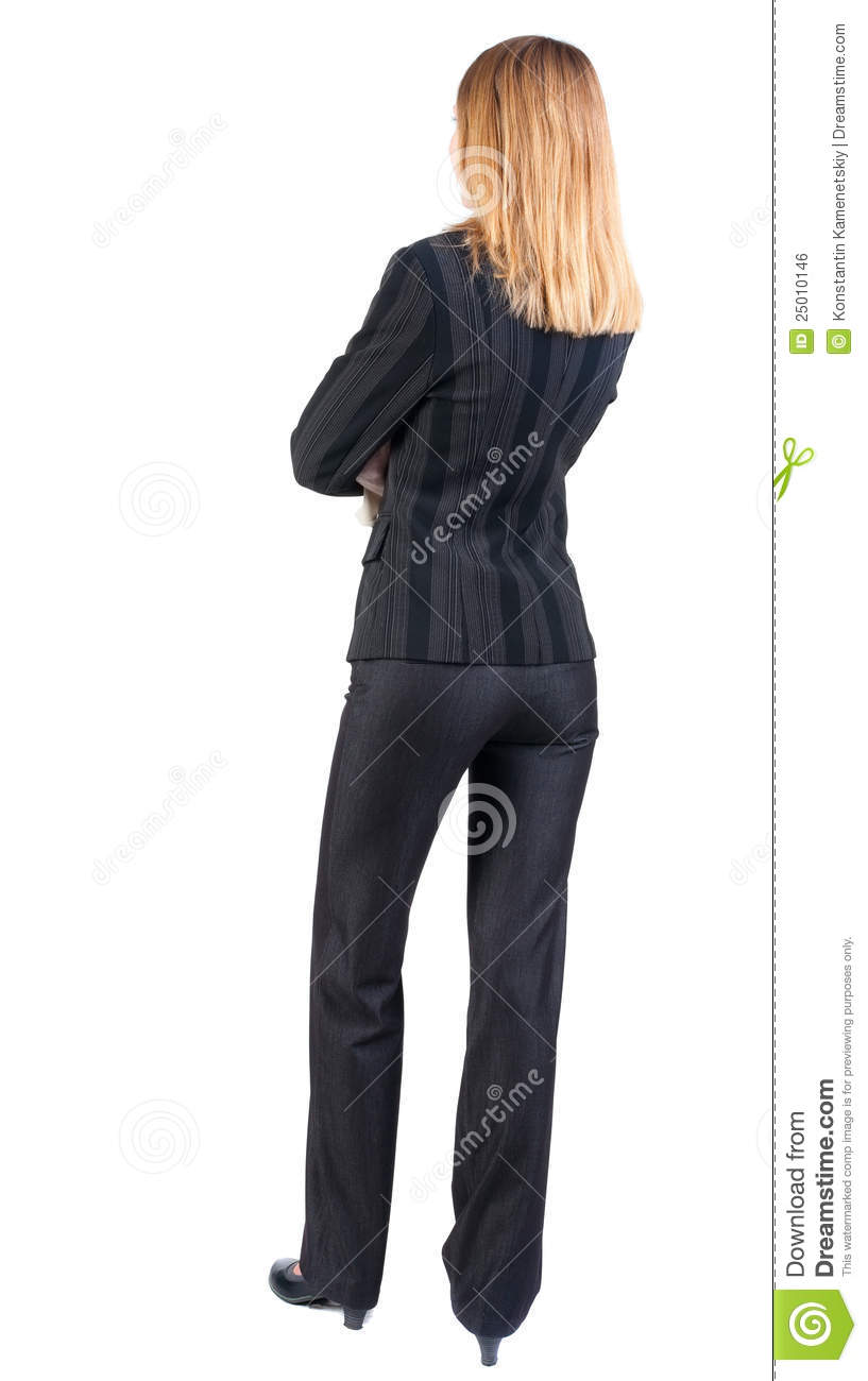 Back View Of Standing Beautiful Blonde Business Woman ...