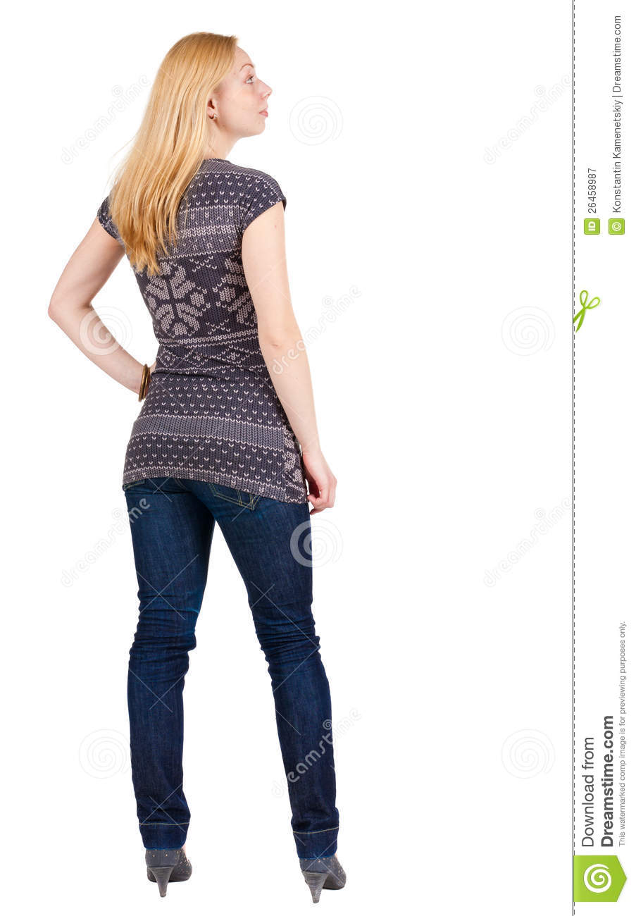 Back View Of Standing Beautiful Smiling Blonde Woman Stock ...