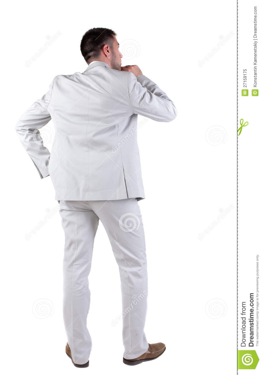 Back View Of Thinking Young Business Man In White Suit ...