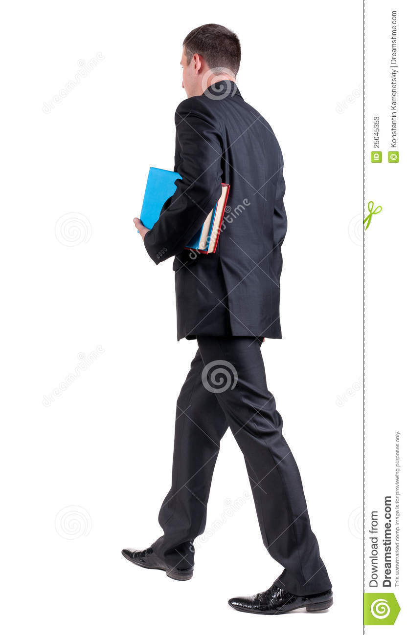 Back View Of Walking Business Man With Books. Stock Photos ...