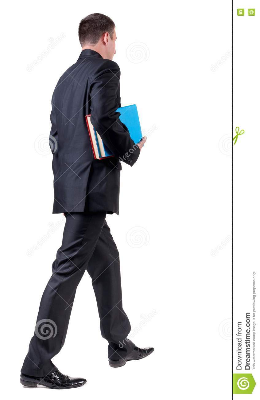 Back View Of Walking Business Man With Books Royalty-Free ...