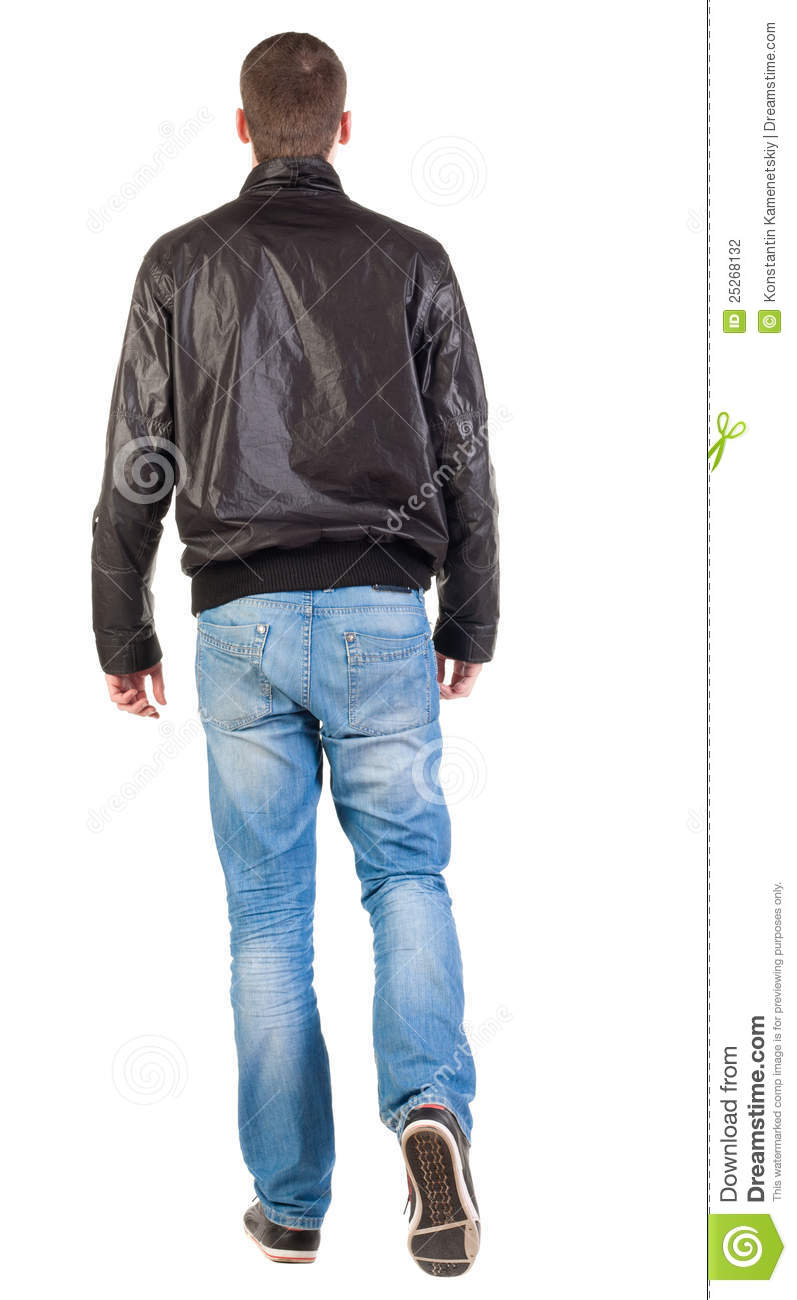 Back View Of Walking Handsome Man In Jacket. Stock Photography - Image ...