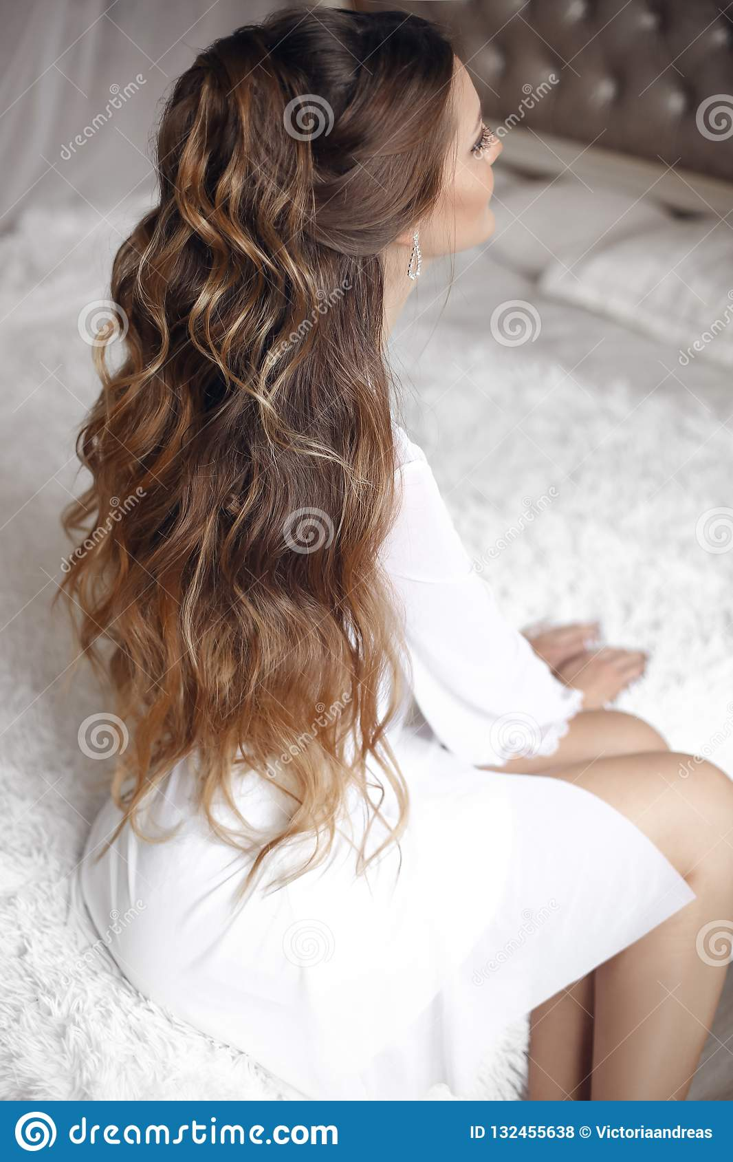 Back View Of Wedding Hairstyle Beautiful Brunette Bride Portrait