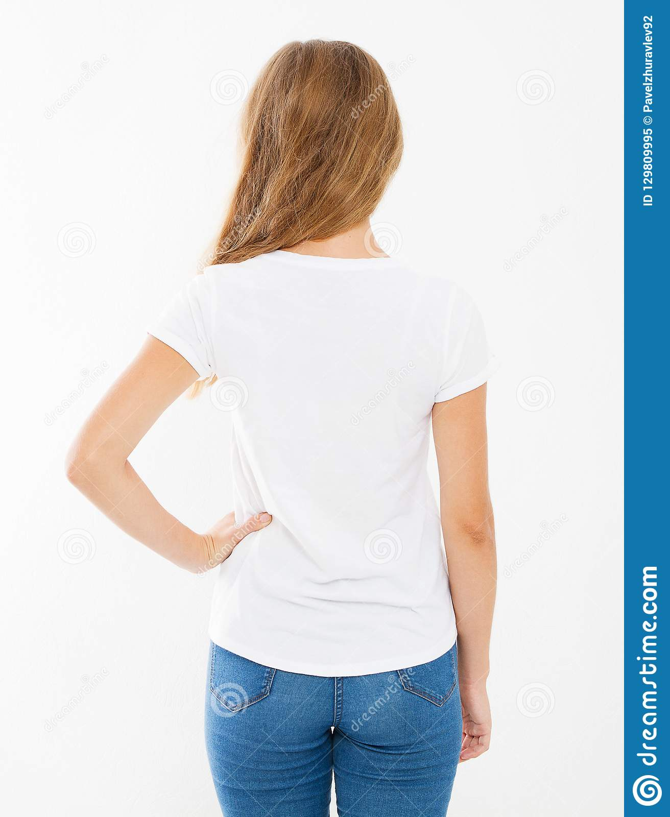 Back view woman in blank white t-shirt. t shirt design and people concept. Shirts front view isolated on white background, mo