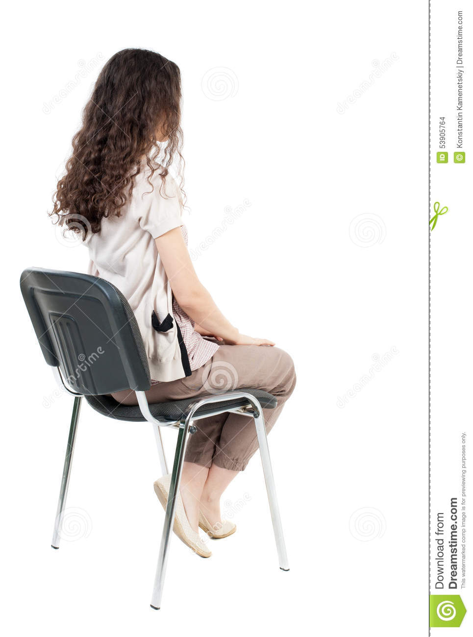 Man sitting in chair side - Back Background Backside Beautiful Chair Girl Isolated People Person Rear Sitting