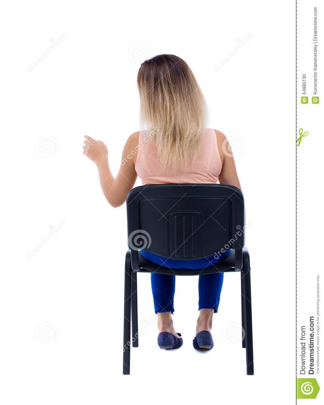 Back View Of Young Beautiful Woman Sitting On Chair And ...