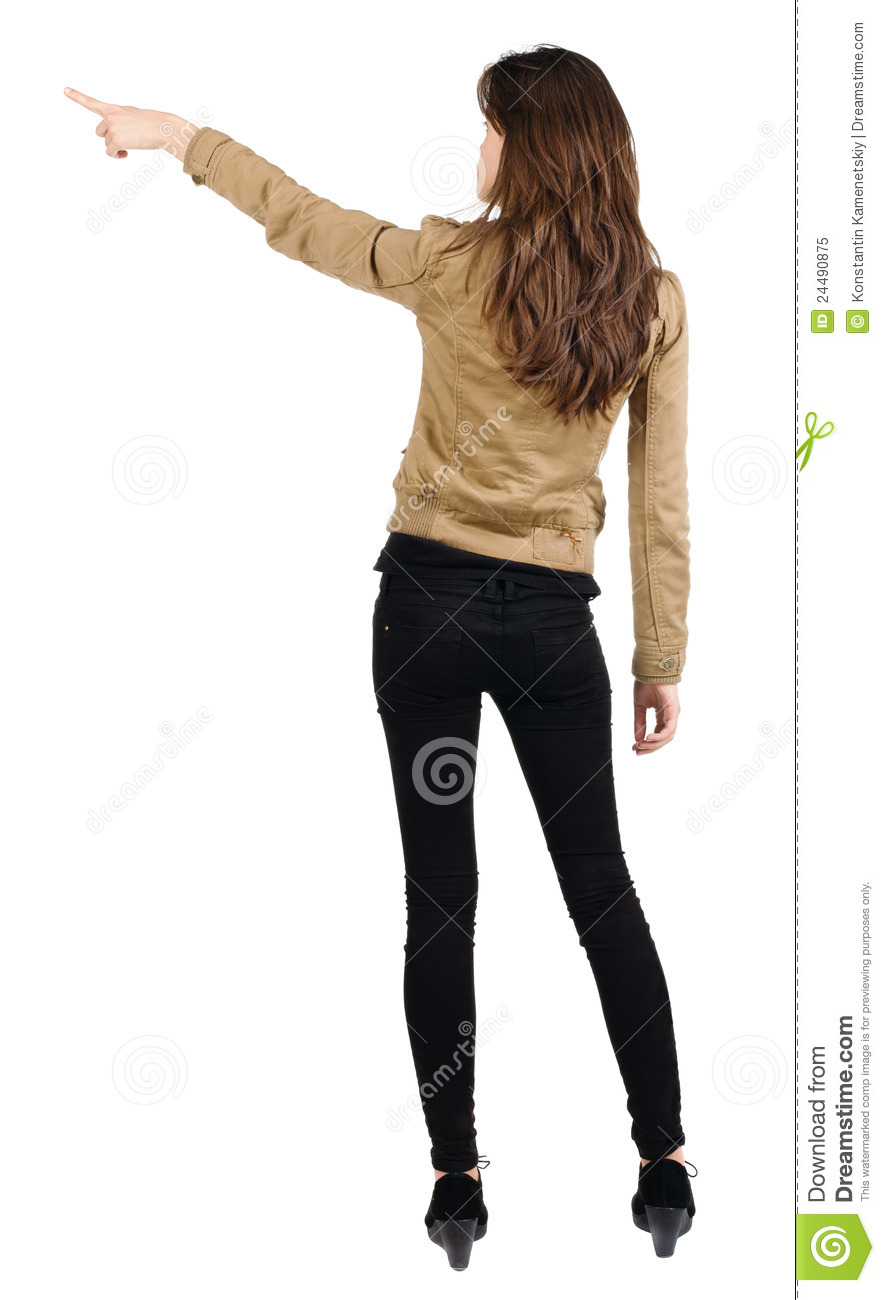 back view of young brunette woman pointing stock image image of