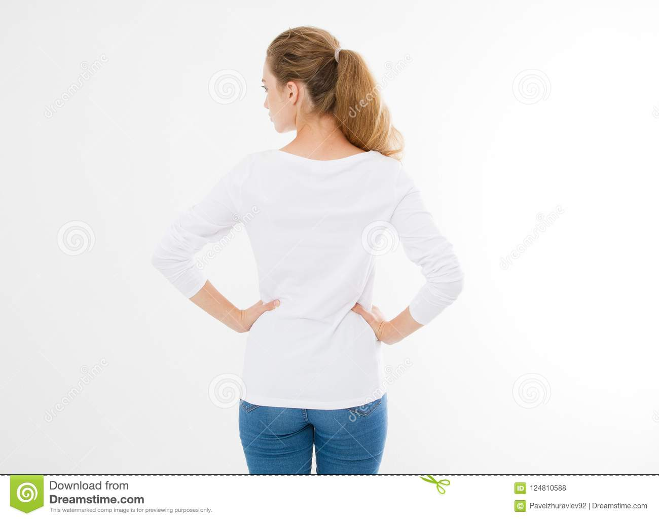 Back View Young Caucasian Europian Woman Girl Blank White T Shirt Design People Concept Shirts Front 124810588