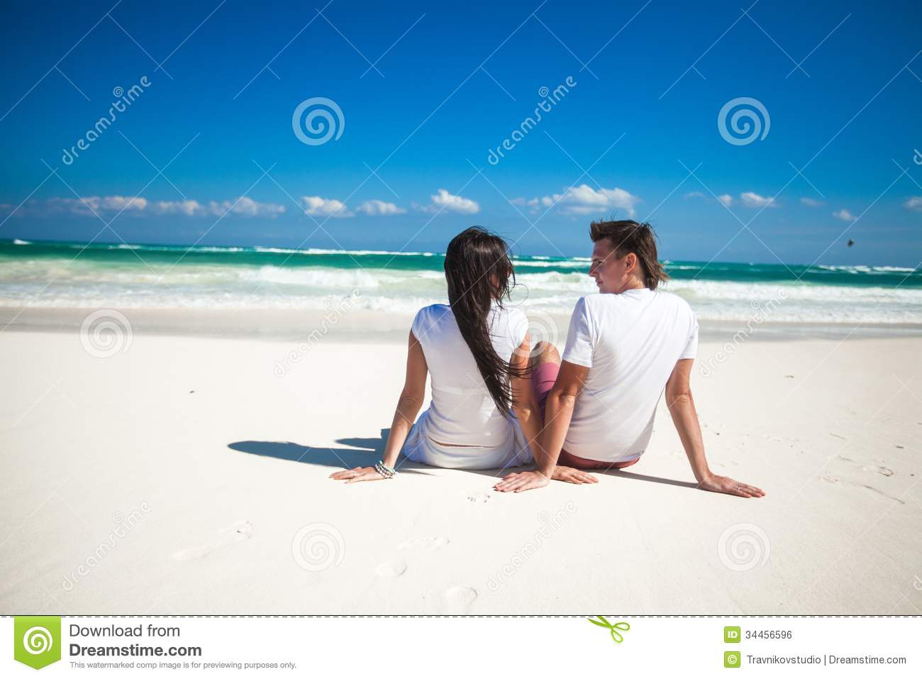 Couple In Love Sitting Coast While Honeymoon Royalty Free