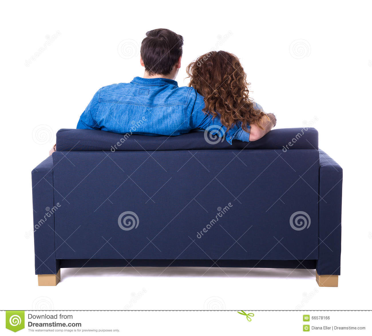 Back view of young couple sitting on sofa isolated on white
