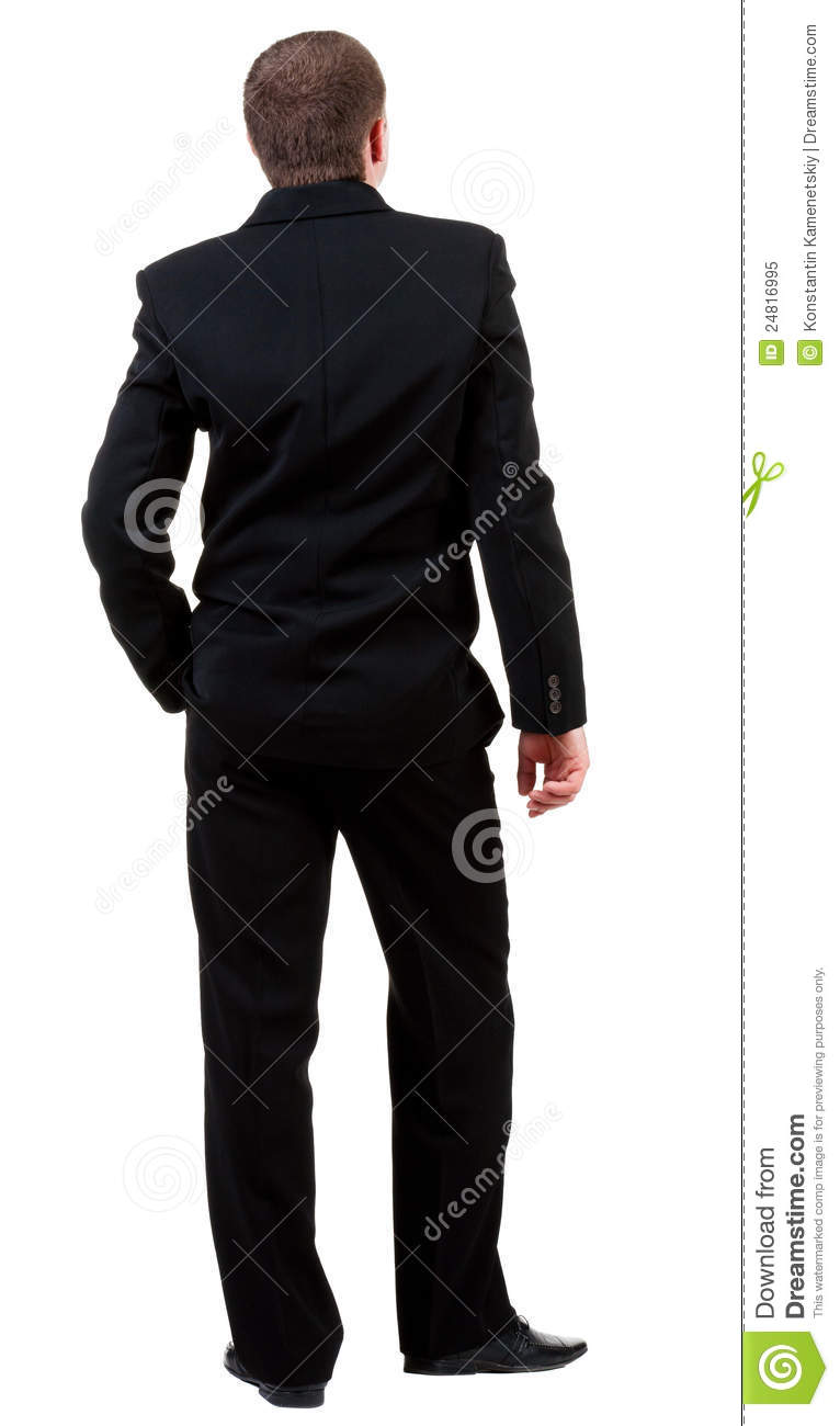 Back View Of Young Guy In Black Suit Watching. Stock Image ...