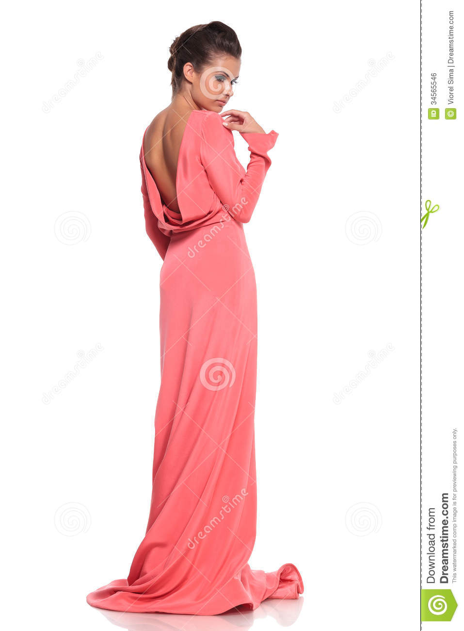 Back View Of A Young Woman In A Pink Gown Stock Photo - Image of ...