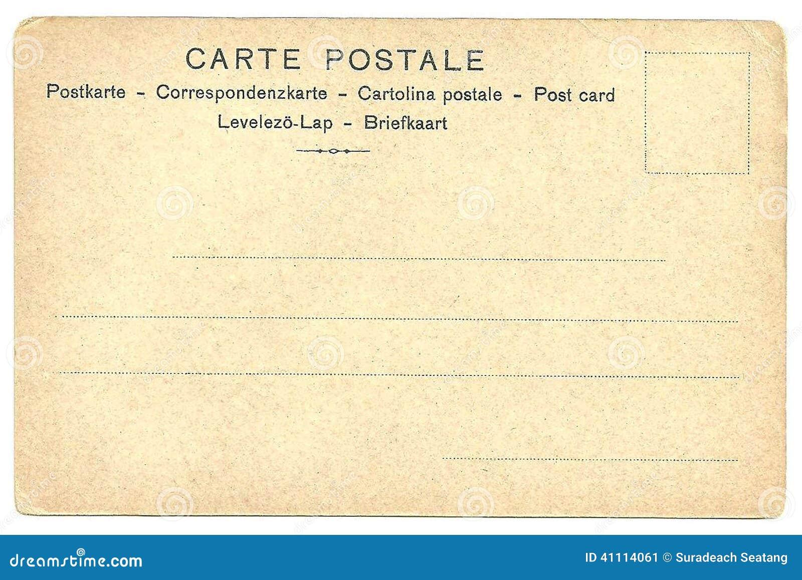 back of vintage blank postcard stock image image of isolated back