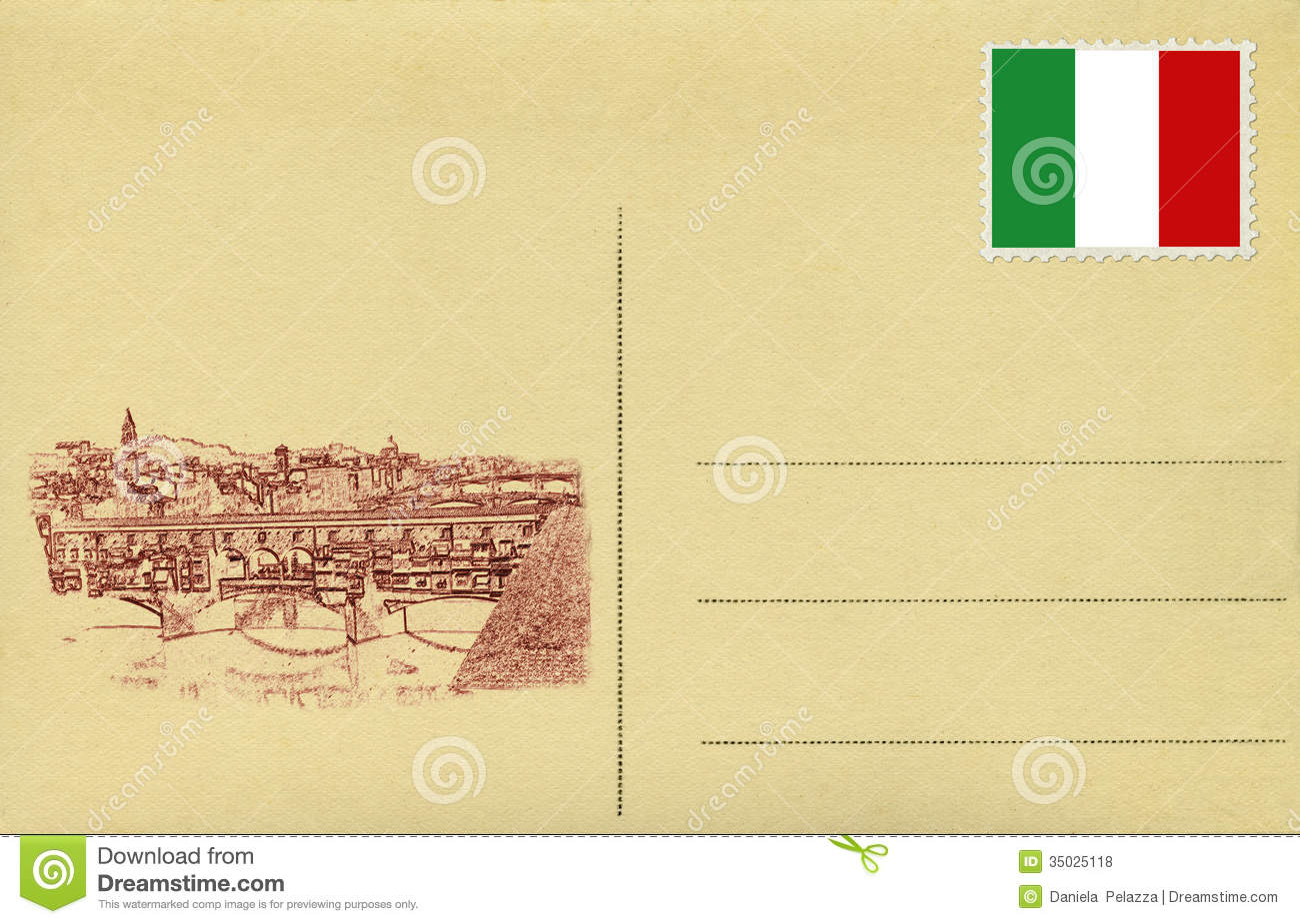 Italian handwritten postcard letter stock photo image 39254147 - Back Of Vintage Postacard With Italian Flag And Ponte Vecchio Of Royalty Free Stock Photos