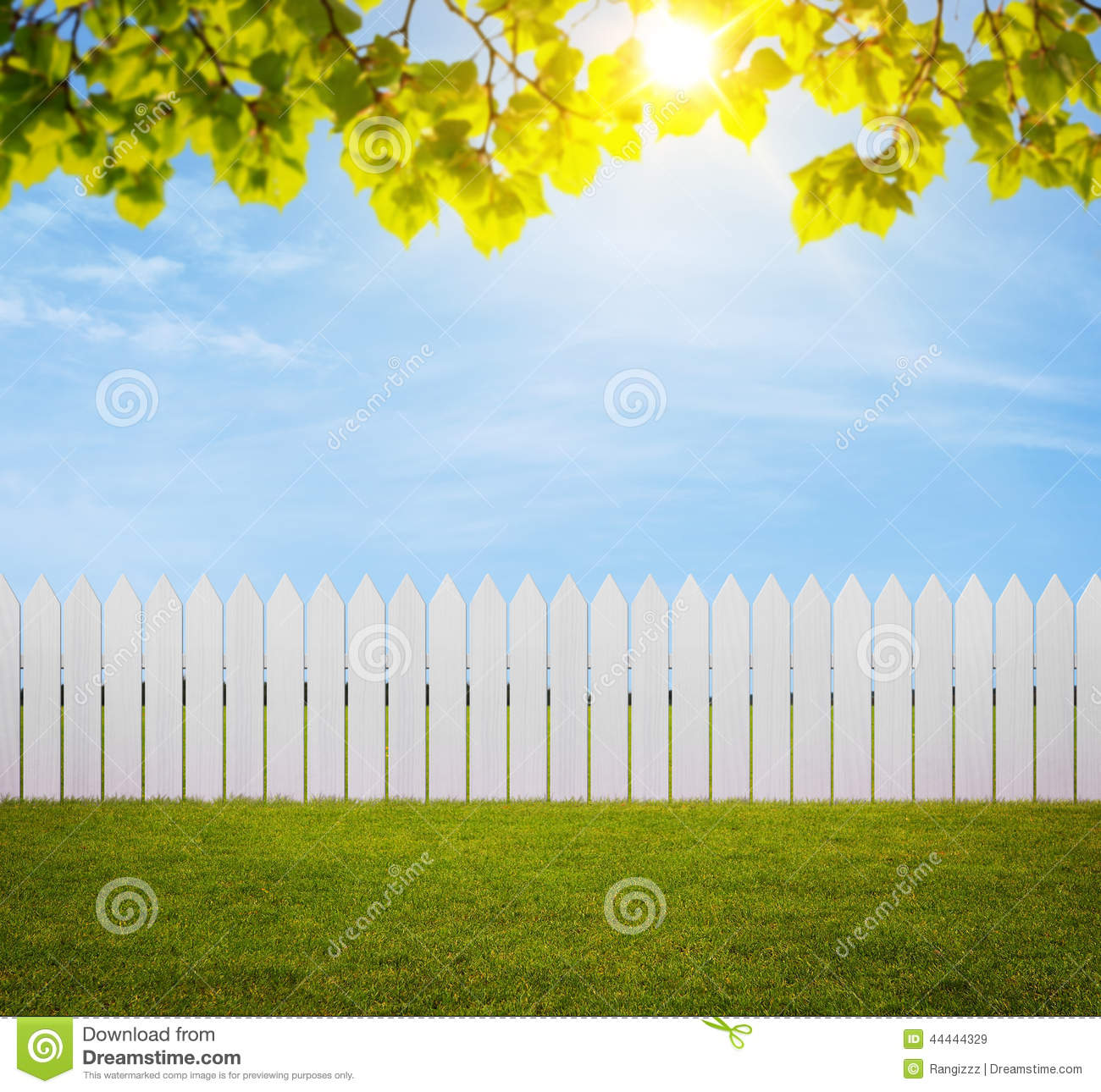 Backyard Background Images : Close up of white wooden fence in the back yard with copy space