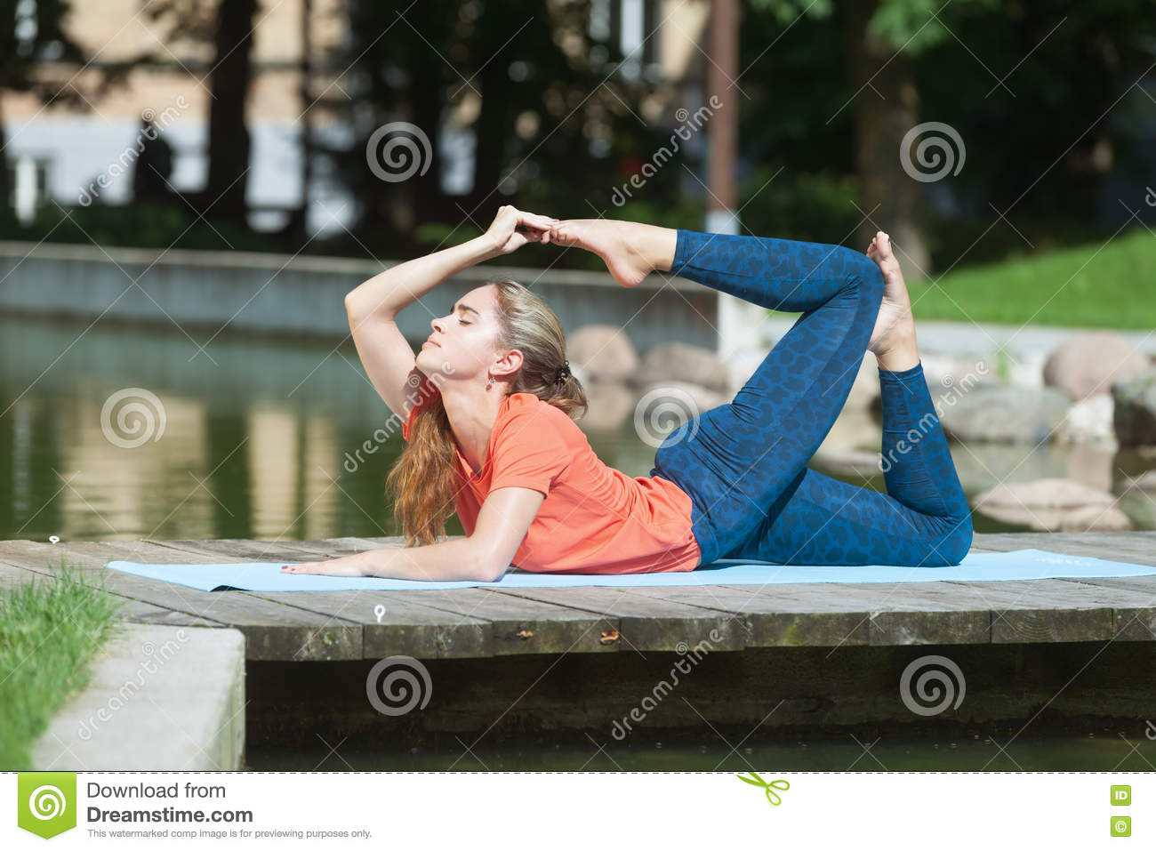 Download Backbend on the open air stock image. Image of meditation - 76802923