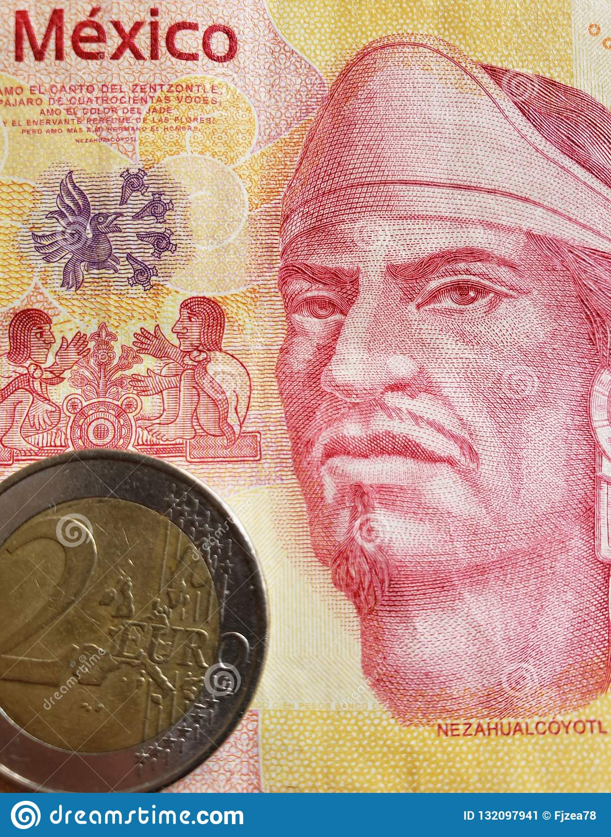 Approach To Mexican Banknote Of 100 Pesos And Coin Of 2 Euro