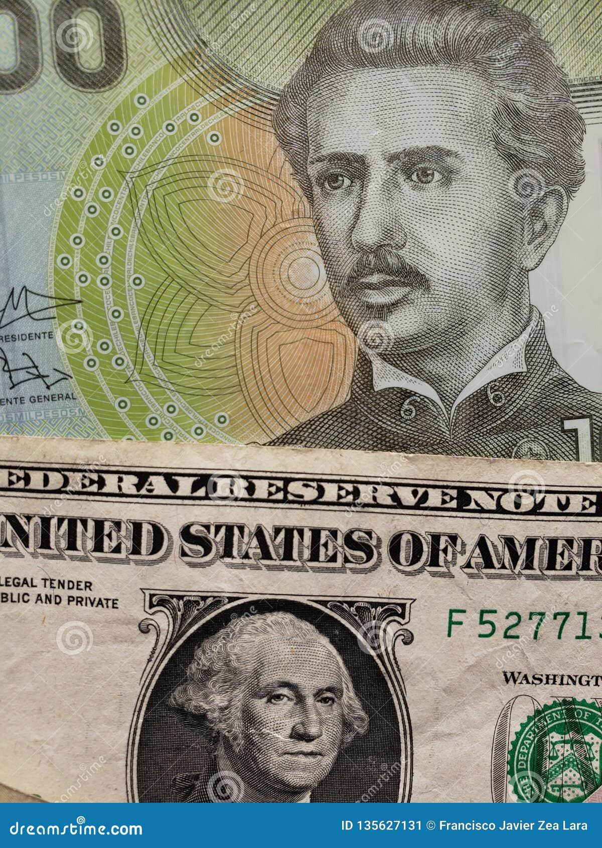 Chilean Banknote Of 1000 Pesos And American Dollar Bill